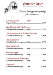 Fertigdosen - Goldener Adler Höchberg