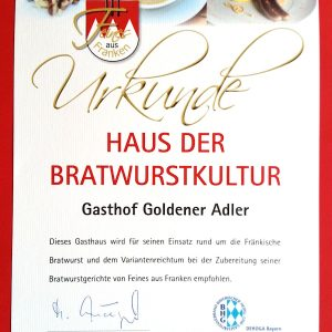 Bratwurstkultur - Hotel und Restaurant Goldener Adler in Höchberg