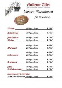 Wurstdosen - Goldener Adler Höchberg