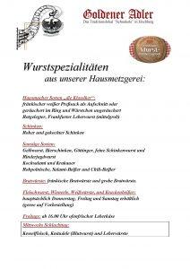 Wurstsorten - Goldener Adler Höchberg